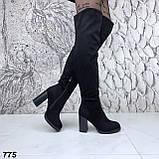 Женские зимние ботфорты сапоги на каблуке эко замш, фото 7