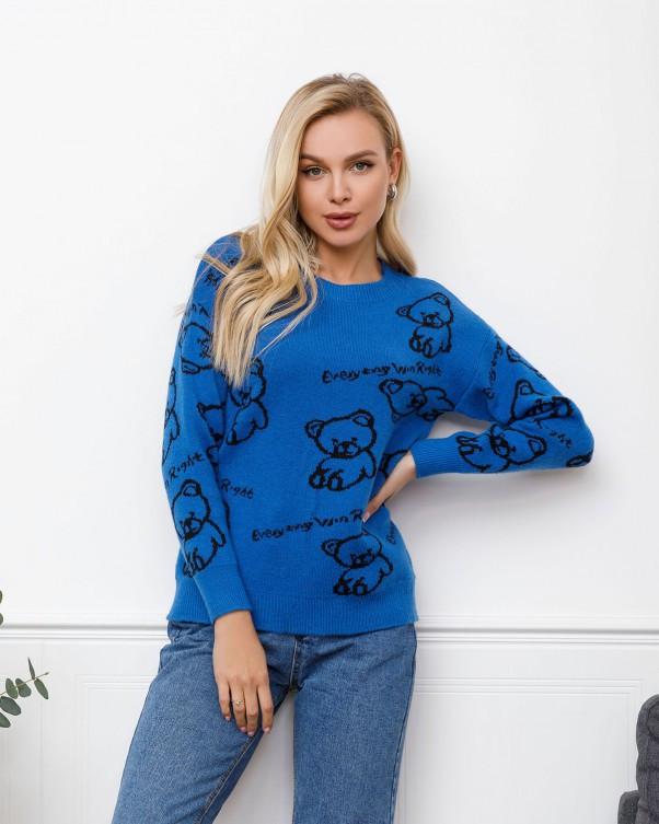 Синий шерстяной свитер с мишками (S M L)