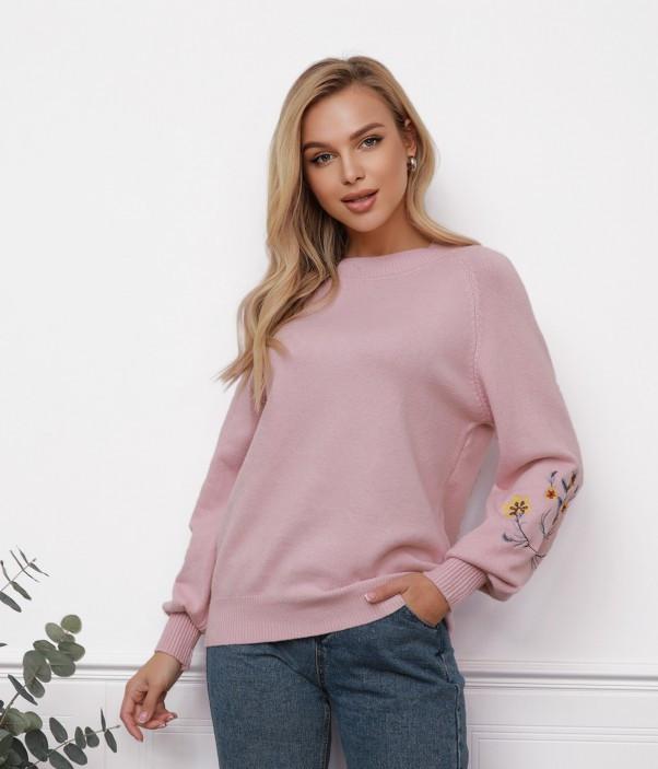 Розовый вязаный свитер с вышитыми цветами (S M L)