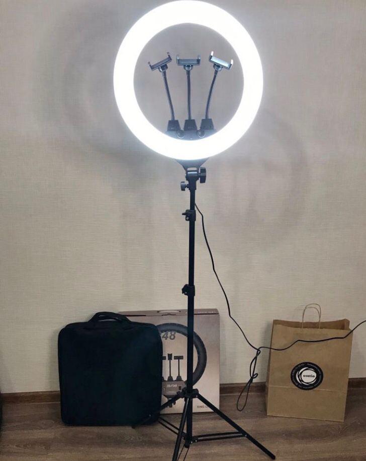 Кольцевая лампа 45 cм со штативом 65Вт, тремя держателями, кольцевой свет для визажиста, косметолога