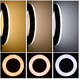 Кольцевая лампа 45 cм со штативом 65Вт, тремя держателями, кольцевой свет для визажиста, косметолога, фото 6