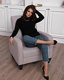 Черный шерстяной свитер фактурной вязки (S M L), фото 4