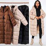Женское зимнее удлиненное пальто оверсайз из плащевки, фото 4