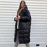 Женское зимнее удлиненное пальто оверсайз из плащевки, фото 3