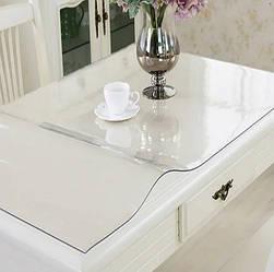 Силиконовая скатерть Мягкое стекло Soft Glass Покрытие для мебели 2.1х1.4м (толщина 0.4мм) Прозрачная