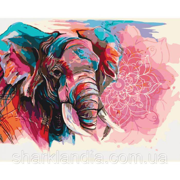 Картины по номерам Священная мудрость 40*50см KHO4046 Слон Радужные животные Слоны Абстракция
