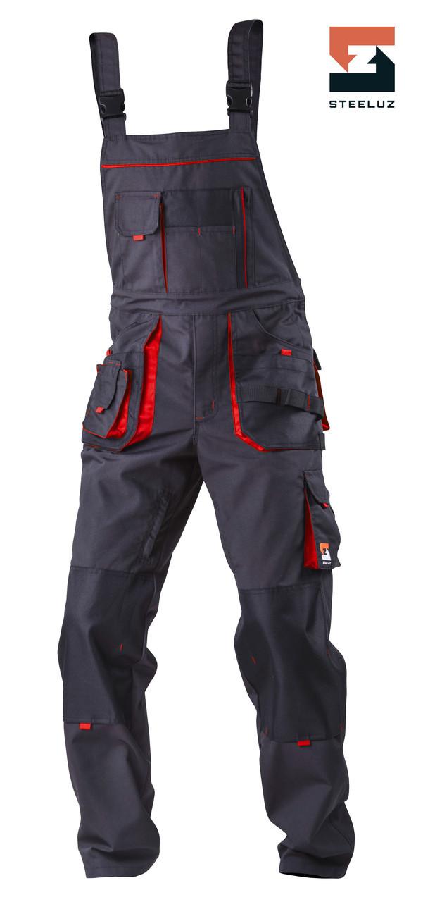 Полукомбинезон рабочий со съёмной утепленной подкладкой SteelUZ 4S, Темно-серый (с красной отделкой), S