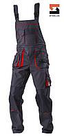 Полукомбинезон рабочий со съёмной утепленной подкладкой SteelUZ 4S, Темно-серый (с красной отделкой), S, фото 1