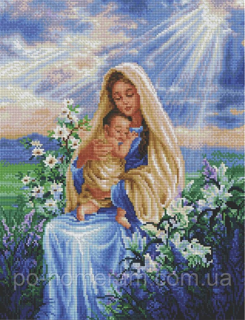 Картина из страз Алмазна мозаїка Богородица с младенцем (DGF017) 40 х 50 см (Без подрамника)