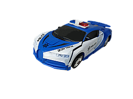Машинка Трансформер Bugatti  Police Robot Car Size 1:18 синяя