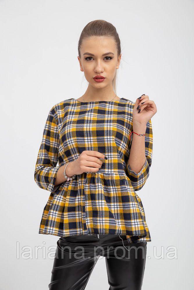 Блуза женская 103R1045 цвет Сине-горчичный