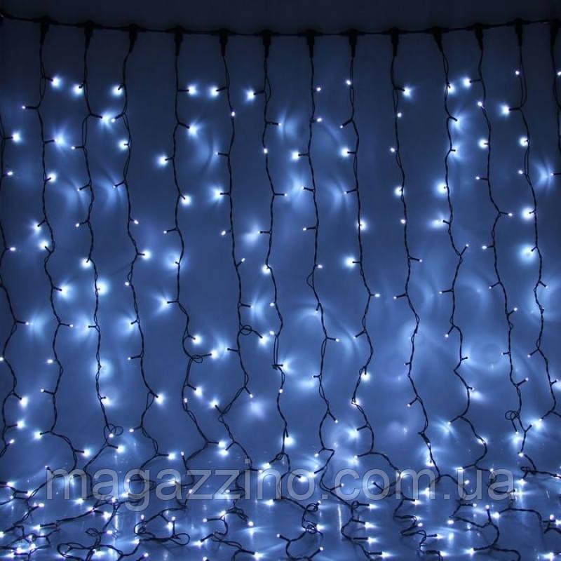 Гирлянда штора светодиодная, 240 LED, Белая, прозрачный провод, 3х1,5м.