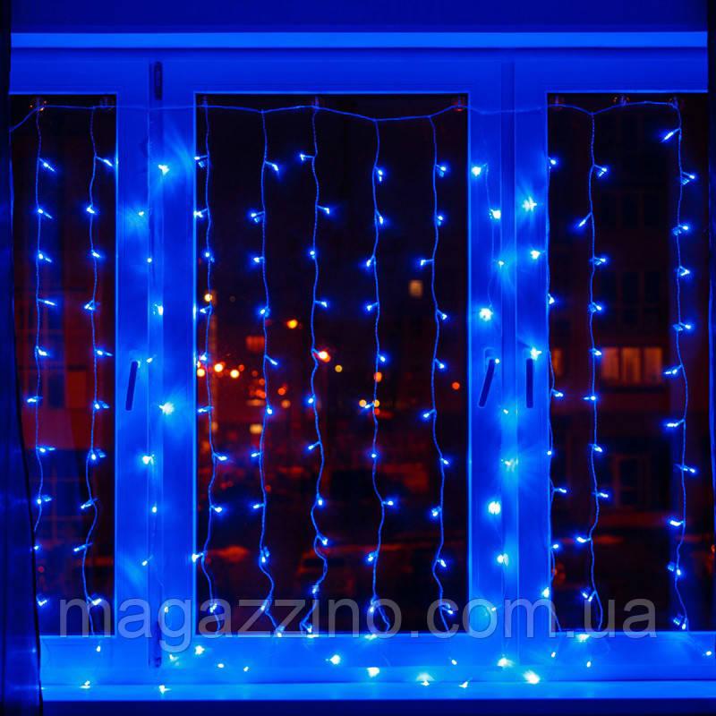 Гирлянда штора светодиодная, 240 LED, Голубая (Синяя), прозрачный провод, 3х1,5м.