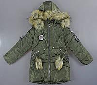 {есть:134,146} Куртка утепленная для девочек ,  Артикул:MC194-хаки [146], фото 1