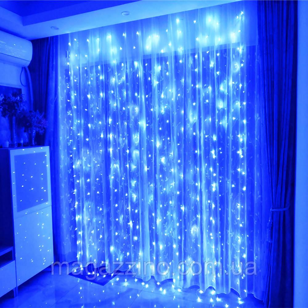Гірлянда штора водоспад світлодіодна, 400 LED, Блакитна (Синя), прозорий провід, 3х3м.