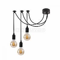 Подвесная люстра-паук, светильник подвес паук, в стиле loft на 3 лампочки черная и белая