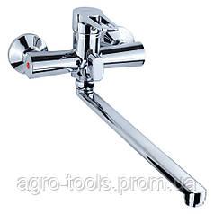 Смеситель HK Ø35 для ванны гусак прямой 350мм дивертор встроенный картриджный AQUATICA (HK-2C230C)