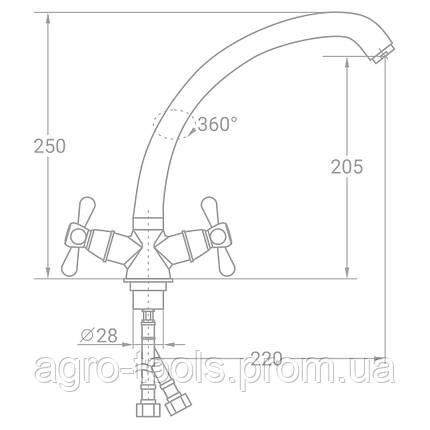 "Смеситель VD 1/2"" для кухни гусак ухо на гайке TAU (VD-4B461C), фото 2"
