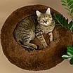 Лежанка для кошки собаки лежак круглый пушистый лежанка теплая меховая серая, фото 7