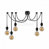 Подвесная люстра-паук, светильник подвес паук, в стиле loft на 5 лампочки черная и белая