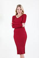Базовое, стильное женское платье в универсальном размере марсал