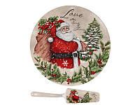 Тортовница фарфоровая Дед Мороз с подарками 26 см 924-645