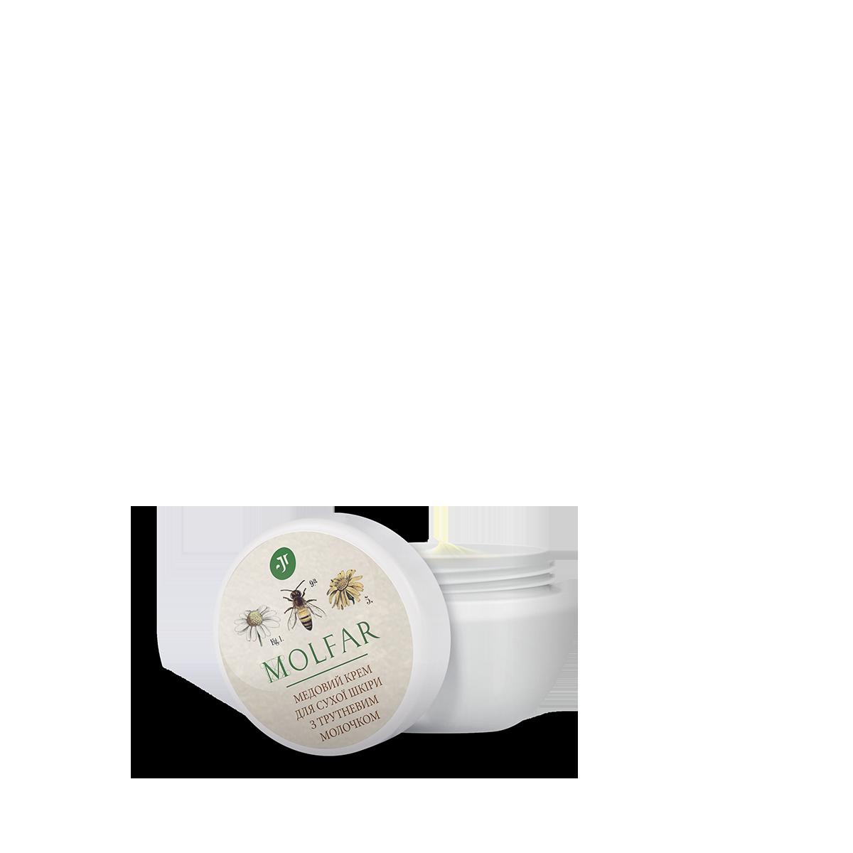 Медовий крем для сухої шкіри з трутневим молочком  Медовый крем для сухой кожи с трутневым молочком Джерелія
