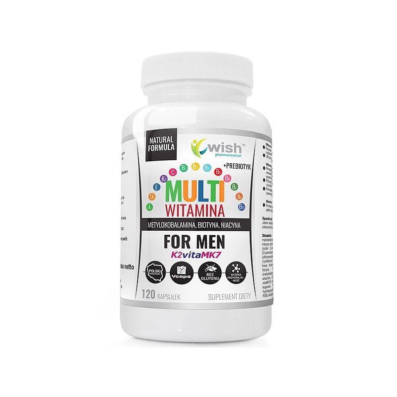 Мультивитаминный комплекс для мужчин, комплекс Витамина B + ADEK + Витамин C + пребиотик 120 caps, Wish