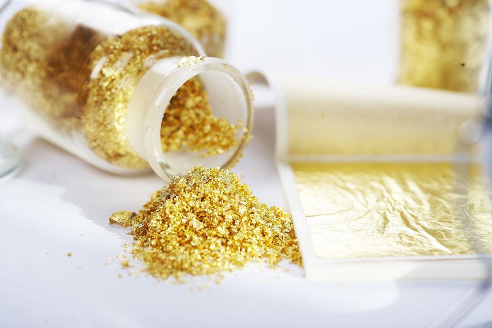 Пищевое золото хлопья(фракционное) 250мг. Украина -04506
