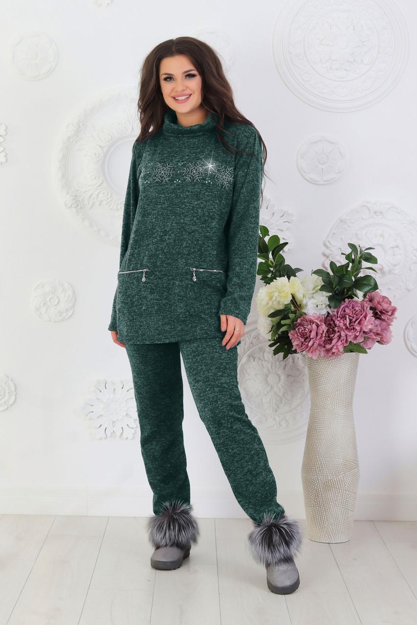 Жіночий демісезонний домашній костюм зі сніжинками костюм з ангори розміри 48-62