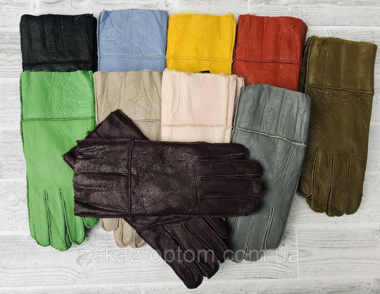 Перчатки женские дубленка внутри мех Китай-64406