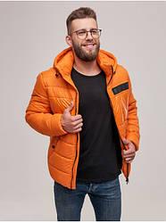 Короткая стильная мужская зимняя куртка оранжевая. Размер 52(XL), 54(XXL)