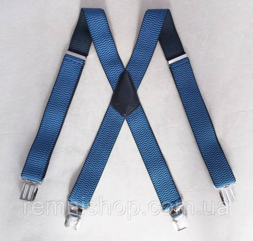 Сині широкі чоловічі підтяжки Paolo Udini