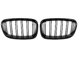 BMW 1 F20 / F21 11-14 3 / 5D хэтчбек решетка между фарами (почки) левый + правый компл. ЧЕРНЫЙ ГЛЯНЦЕВЫЙ, арт.