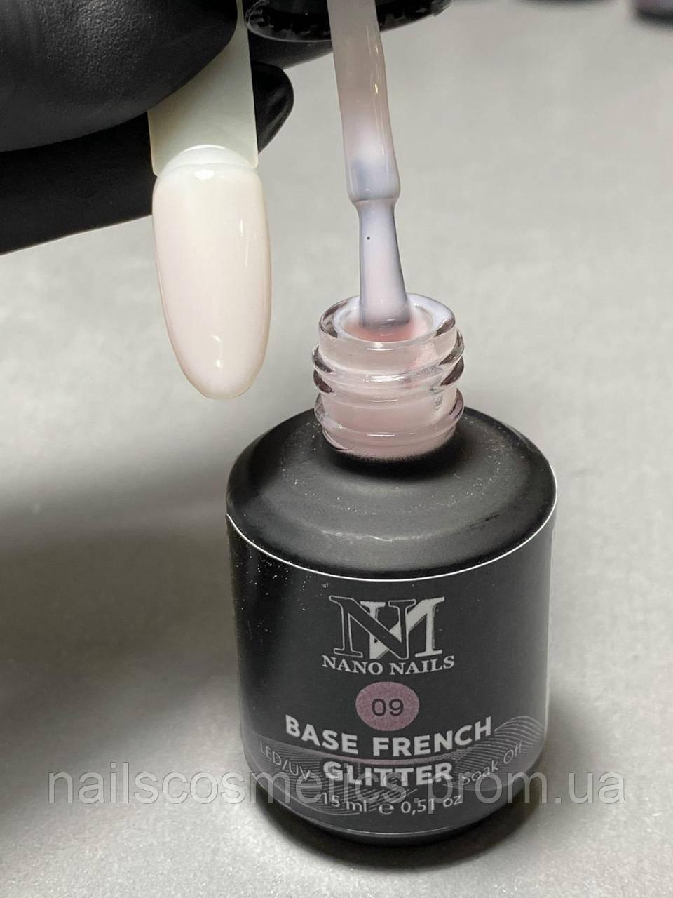 09 Base French glitter NANO NAILS, для гель-лака 14мл