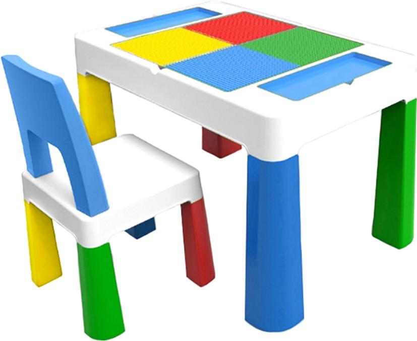 """Детский многофункциональный столик POPPET """"Колор Блу 5 в 1"""" и стульчик голубой"""