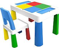 """Детский многофункциональный столик POPPET """"Колор Блу 5 в 1"""" и стульчик голубой, фото 1"""