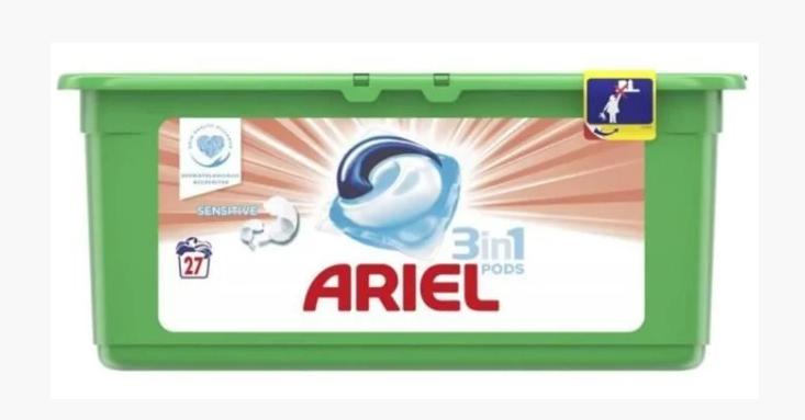 """Капсулы для стирки Ariel Pods 3 в 1 """"Sensitive"""" (27шт.)"""