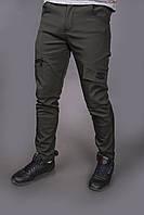 Штаны карго брюки мужские зимние теплые качественные оливковые Conqueror Intruder
