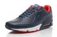Кроссовки мужские Nike Air Max 90 First Leather  (в стиле найк аир макс 90) темно-синие