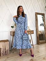 Сукня міді в дрібний квітковий принт Блакитне М(44-46)