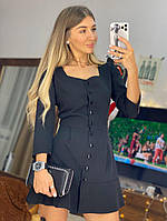 Сукня міні з гудзиками Чорне S