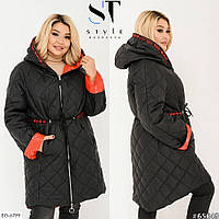 Стеганная двусторонняя женская куртка зимняя на синтепоне с капюшоном размеры батал 48-64 арт 05374