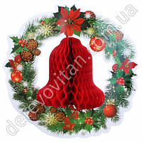 """Декор новогодний из бумаги """"Рождественский колокольчик"""", 36 см, красный"""