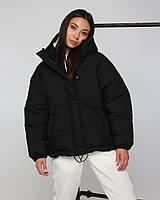 Куртка женская оверсайз черная от бренда ТУР модель Сара, размеры: S, M, L