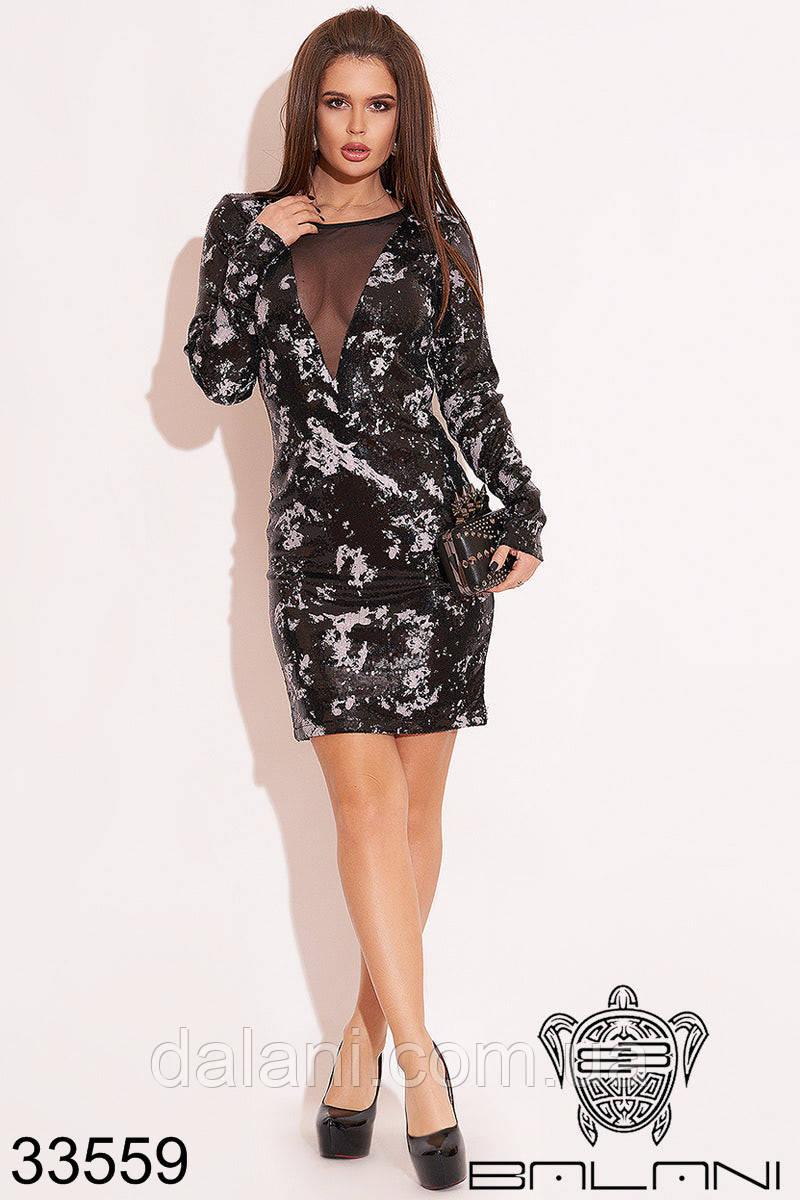 Вечернее короткое черное платье с пайетками