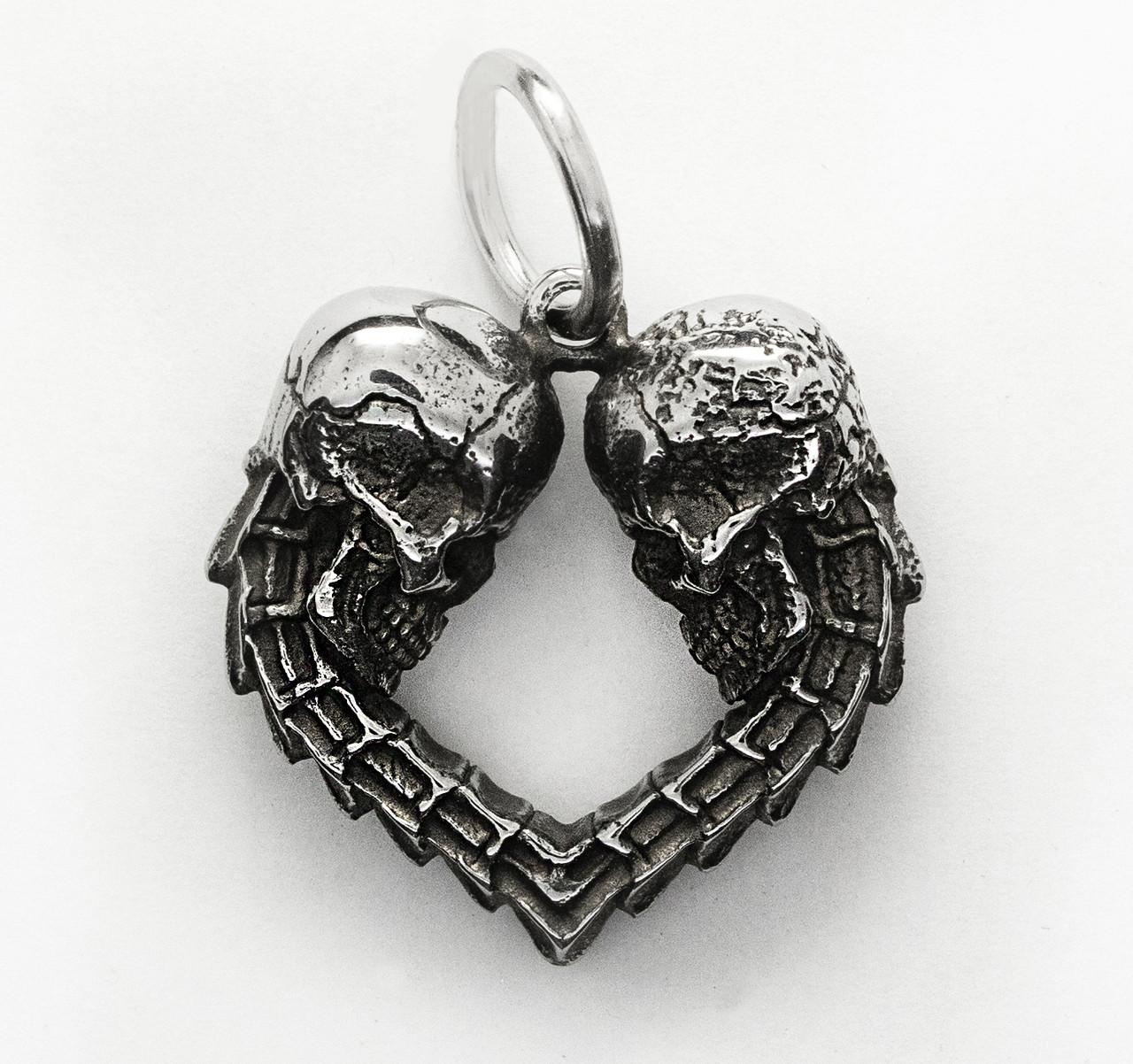 Подвеска серебряная Два черепа Сердце ПС-141 Б