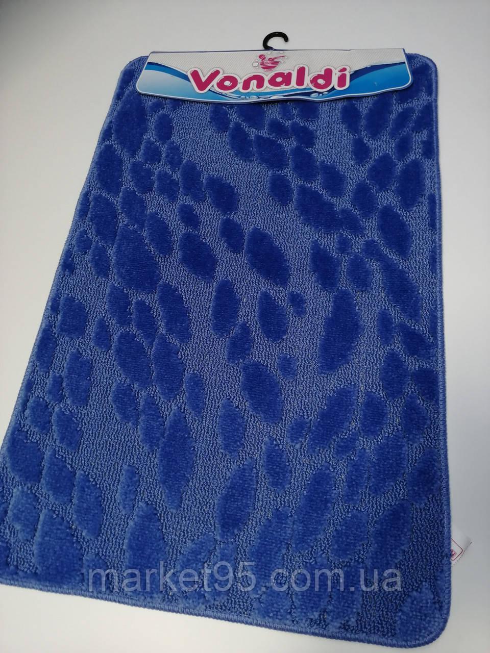 Килимки в ванну і туалет, набір 80*50 Vonaldi синій