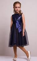 Праздничное синее платье с юбкой из фатина
