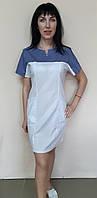 Женское медицинское платье Капелька стрейч-коттон короткий рукав